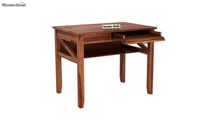 Hawkins Solid Wooden Computer Desk (Teak Finish)-5