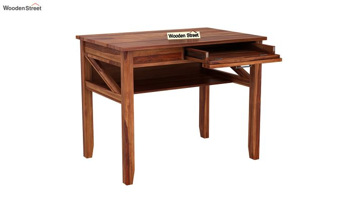 Hawkins Solid Wooden Computer Desk (Teak Finish)-7