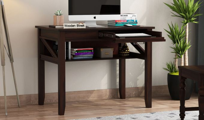 Hawkins Solid Wooden Computer Desk (Walnut Finish)-1