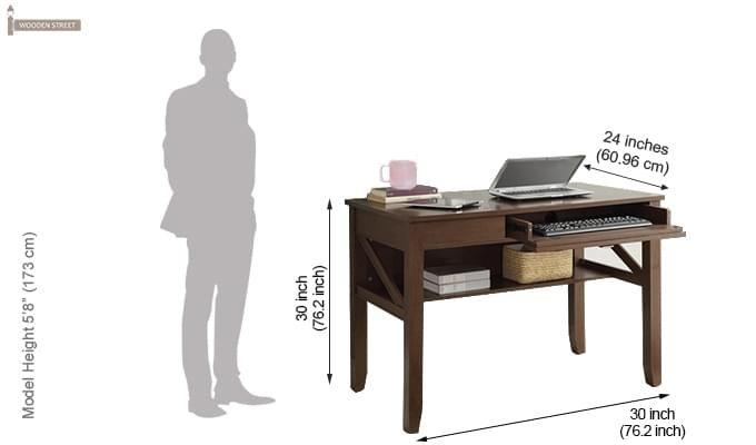 Hawkins Solid Wooden Computer Desk (Teak Finish)-2
