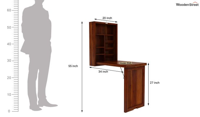 Holger Foldable Wall Mounted Table (Honey Finish)-6