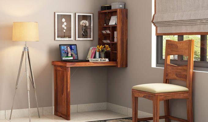 Holger Foldable Wall Mounted Table (Honey Finish)-1