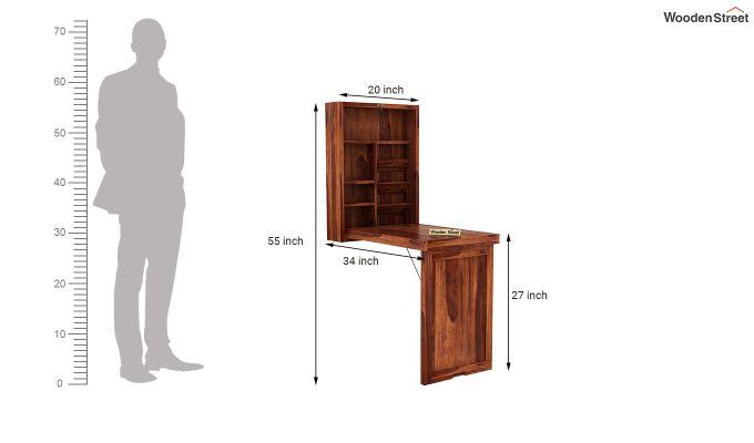 Holger Foldable Wall Mounted Table (Honey Finish)-7