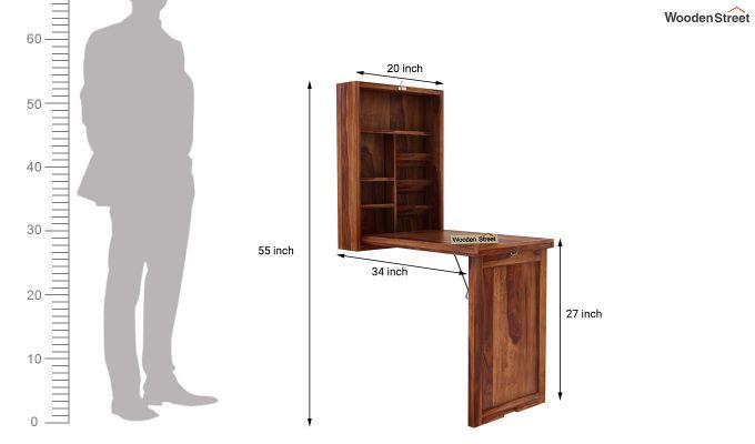Holger Foldable Wall Mounted Table (Teak Finish)-5