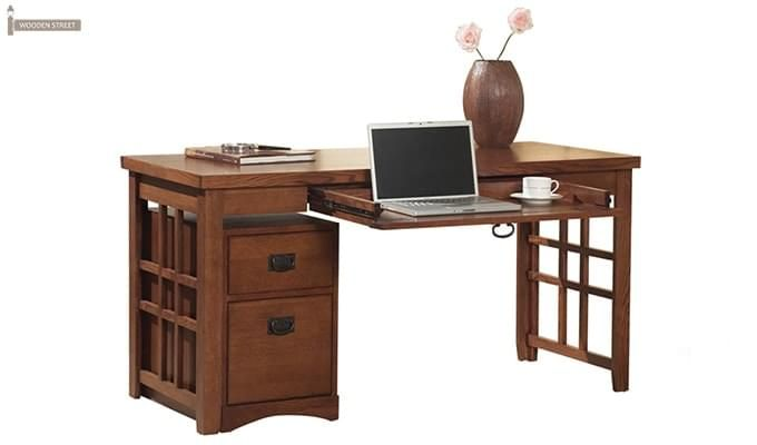 Horsley Computer Table With Storage (Teak Finish)-2