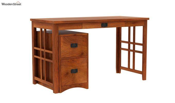 Horsley Computer Table With Storage (Honey Finish)-2