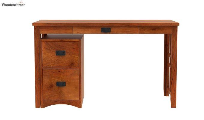 Horsley Computer Table With Storage (Honey Finish)-4