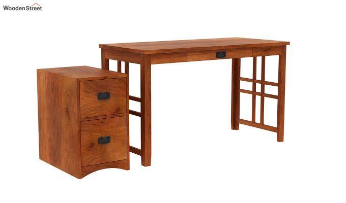 Horsley Computer Table With Storage (Honey Finish)-5