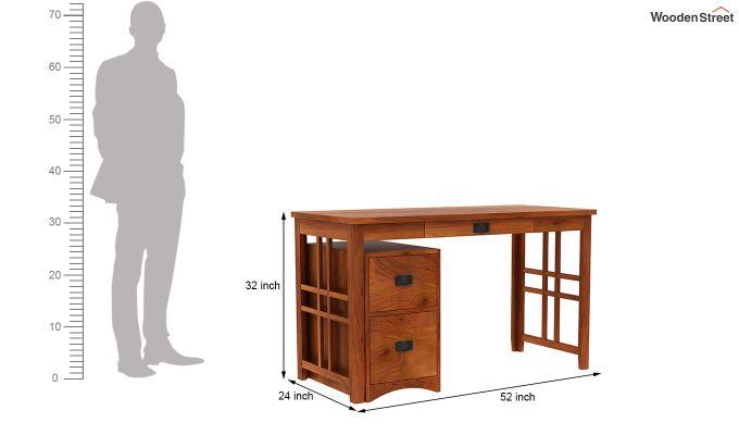 Horsley Computer Table With Storage (Honey Finish)-9