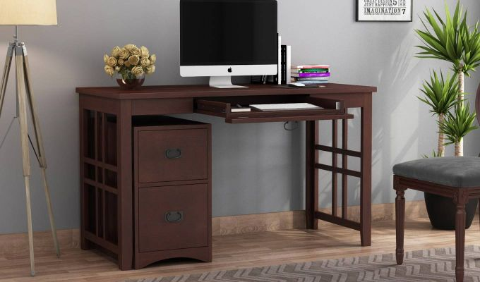 Horsley Computer Table With Storage (Walnut Finish)-1