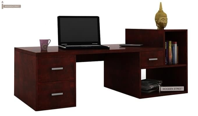 Ineista Low Height Study Table (Mahogany Finish)-3