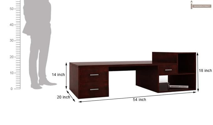 Ineista Low Height Study Table (Mahogany Finish)-9