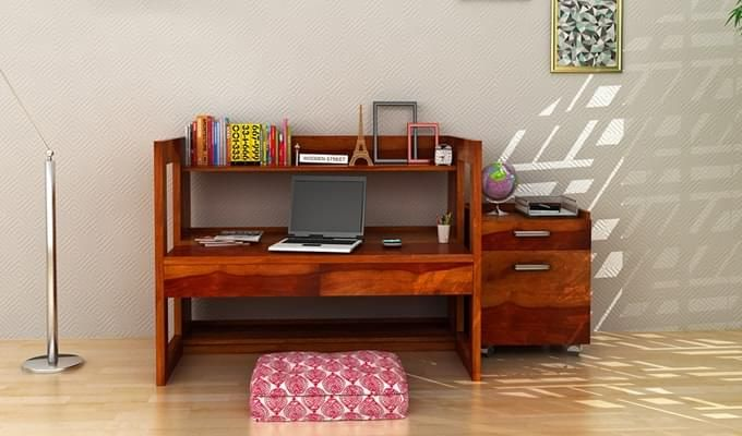 Jerome Adjustable Study Table Cum Bookshelf (Honey Finish)-1