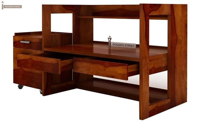 Jerome Adjustable Study Table Cum Bookshelf (Honey Finish)-6
