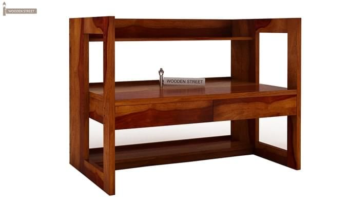 Jerome Adjustable Study Table Cum Bookshelf (Honey Finish)-9