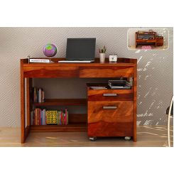 Jerome Adjustable Study Table Cum Bookshelf (Honey Finish)