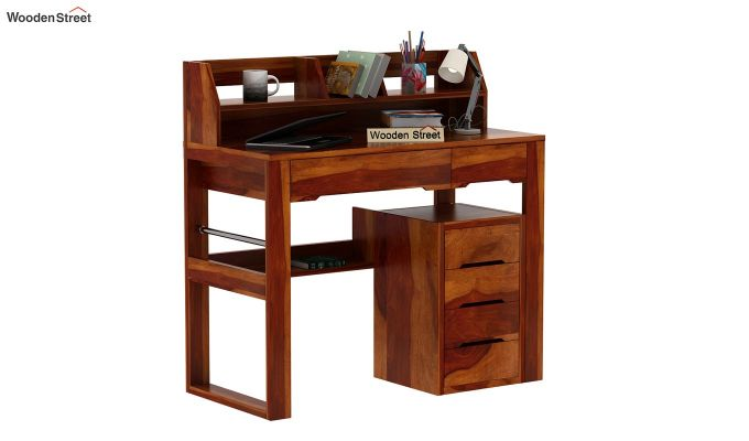 Landon Study Table With Storage (Honey Finish)-2
