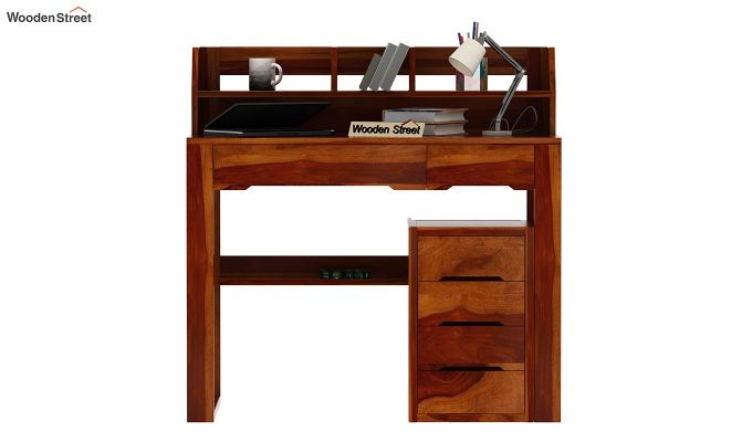 Landon Study Table With Storage (Honey Finish)-3
