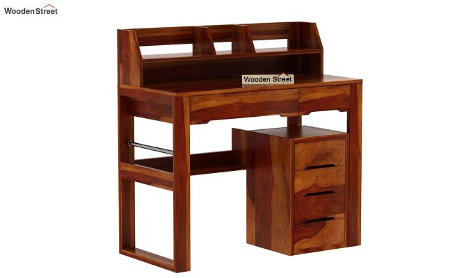 Landon Study Table With Storage (Honey Finish)-5