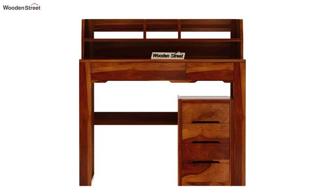 Landon Study Table With Storage (Honey Finish)-6