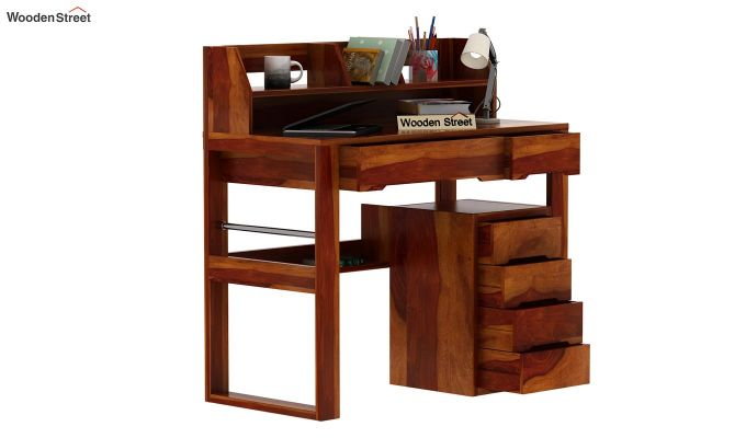 Landon Study Table With Storage (Honey Finish)-4