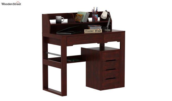 Landon Study Table With Storage (Mahogany Finish)-1