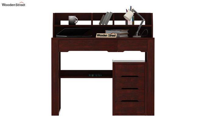 Landon Study Table With Storage (Mahogany Finish)-2