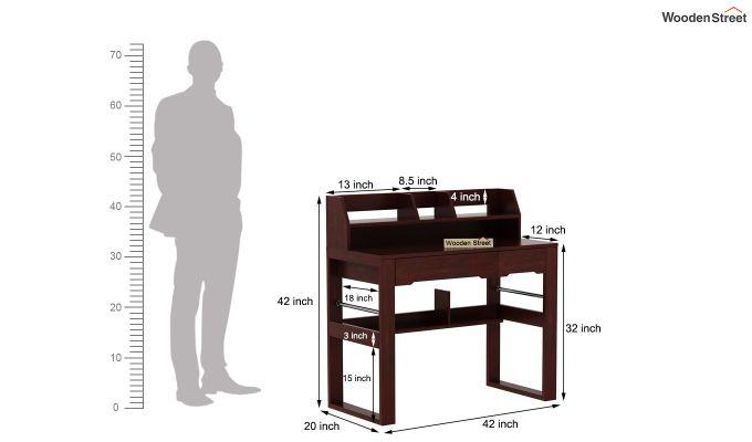 Landon Study Table With Storage (Mahogany Finish)-10
