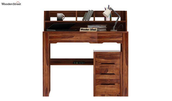 Landon Study Table With Storage (Teak Finish)-2