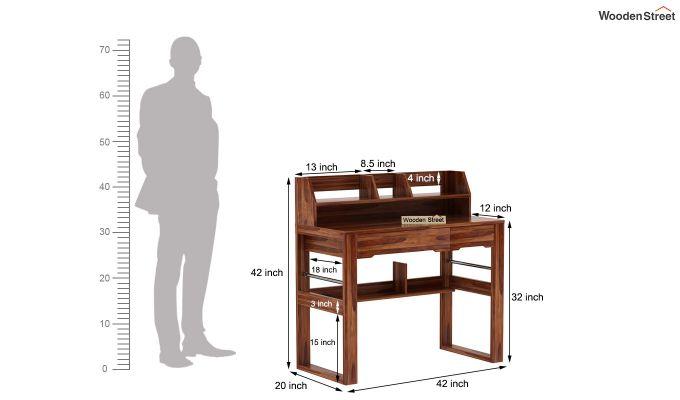 Landon Study Table With Storage (Teak Finish)-10
