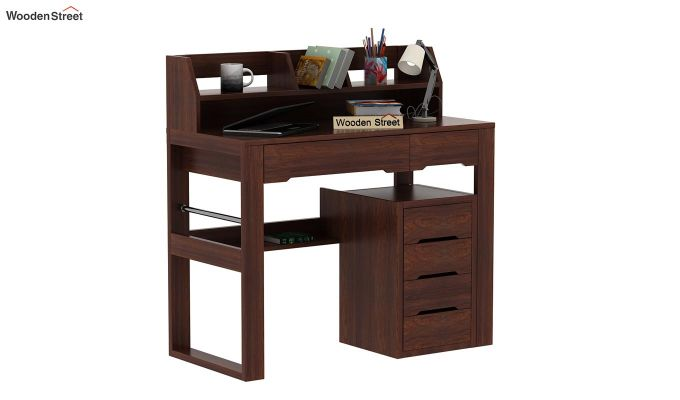 Landon Study Table With Storage (Walnut Finish)-1