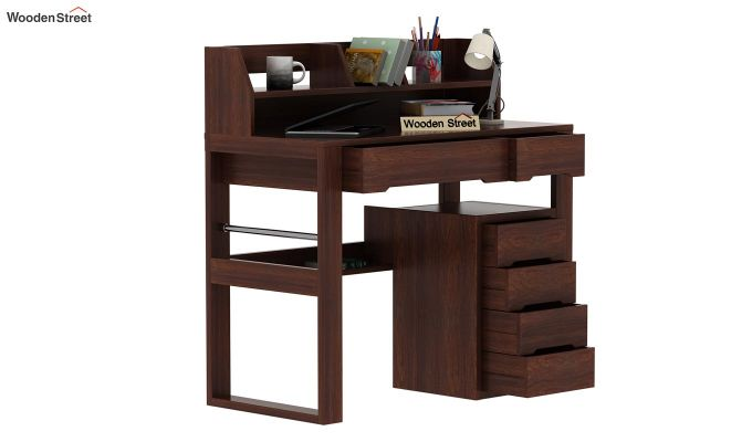 Landon Study Table With Storage (Walnut Finish)-3