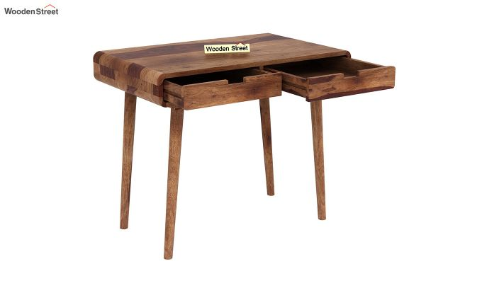 Lynton Study Table with Curved Edges (Teak Finish)-4