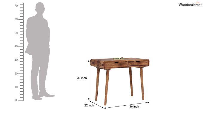 Lynton Study Table with Curved Edges (Teak Finish)-5