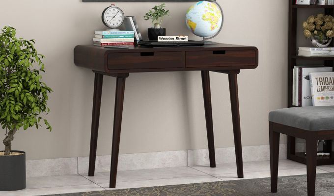 Lynton Study Table with Curved Edges (Walnut Finish)-1