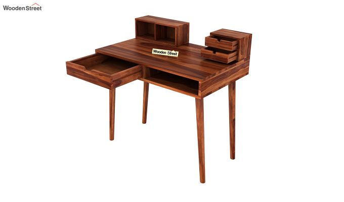 Lynton Study Table with Table-Top Storage (Honey Finish)-5