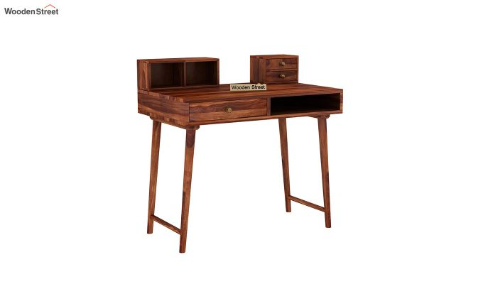 Lynton Study Table with Table-Top Storage (Honey Finish)-2
