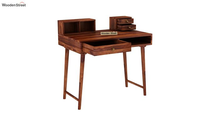 Lynton Study Table with Table-Top Storage (Honey Finish)-4