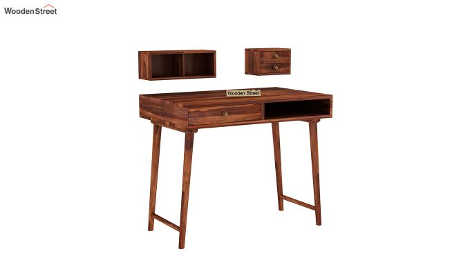 Lynton Study Table with Table-Top Storage (Honey Finish)-6