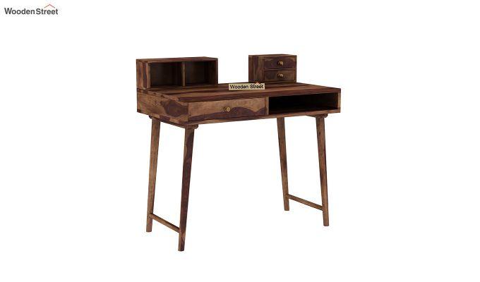 Lynton Study Table with Table-Top Storage (Teak Finish)-2
