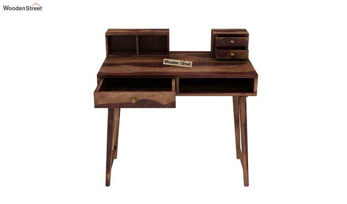 Lynton Study Table with Table-Top Storage (Teak Finish)-5