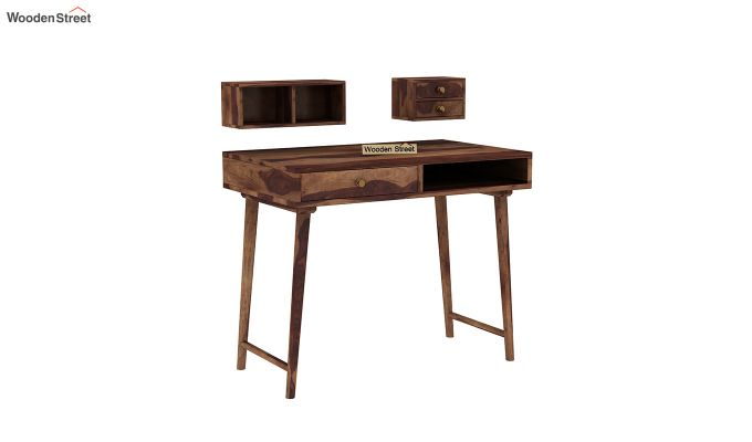 Lynton Study Table with Table-Top Storage (Teak Finish)-6