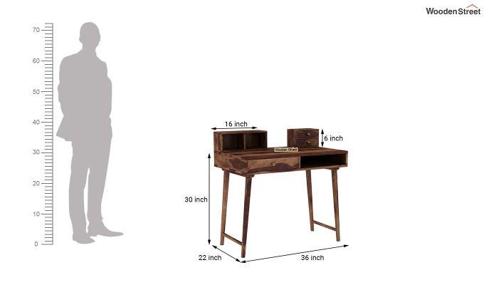 Lynton Study Table with Table-Top Storage (Teak Finish)-8