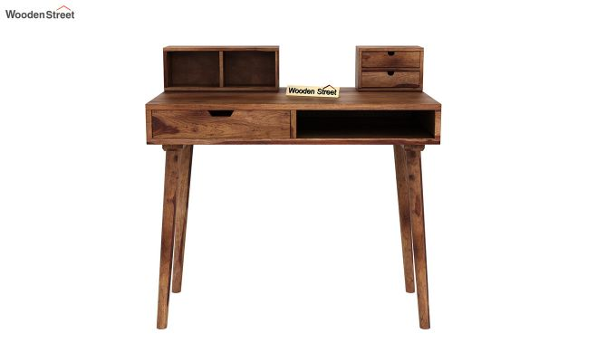 Lynton Study Table with Table-Top Storage (Teak Finish)-3