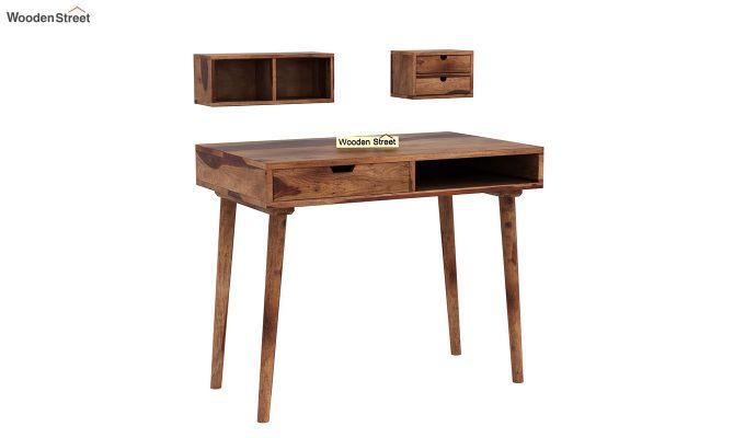 Lynton Study Table with Table-Top Storage (Teak Finish)-4