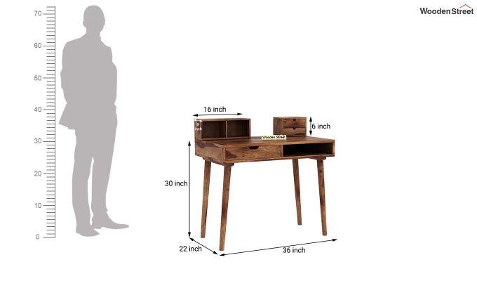 Lynton Study Table with Table-Top Storage (Teak Finish)-7