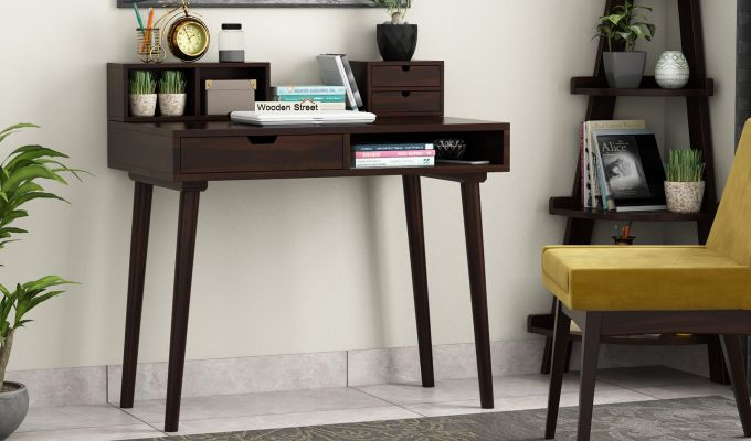 Lynton Study Table with Table-Top Storage (Walnut Finish)-1