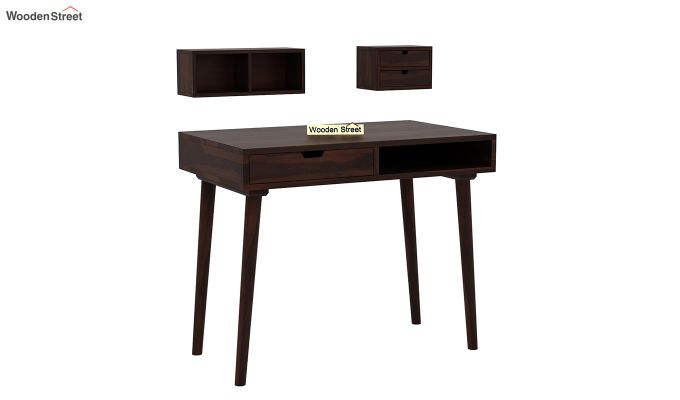 Lynton Study Table with Table-Top Storage (Walnut Finish)-4