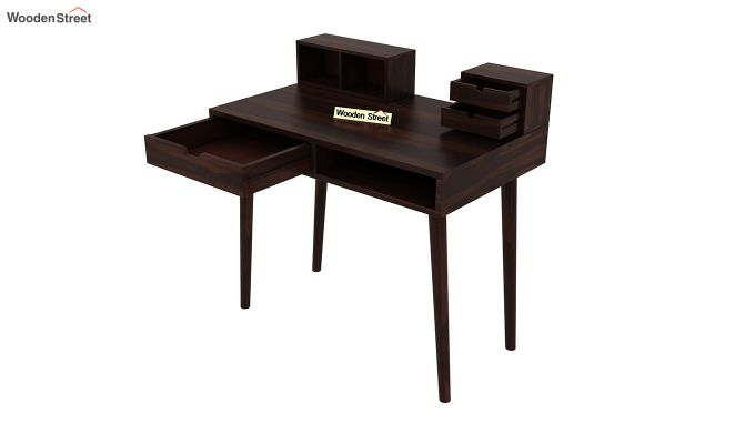 Lynton Study Table with Table-Top Storage (Walnut Finish)-5