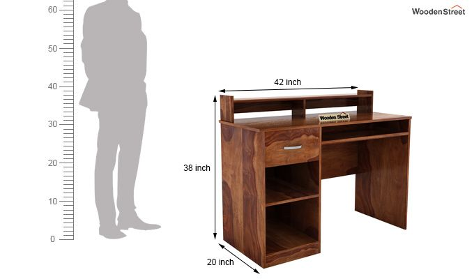 Madoc Computer Table (Teak Finish)-7